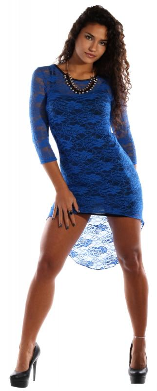 minikleid vorne kurz hinten lang spitzenoptik blau mode. Black Bedroom Furniture Sets. Home Design Ideas